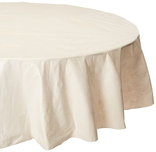 (Carnation Home Fashions Vinyl Tablecloth with Polyester Flannel Backing, 70-Inch Round, Ivory)