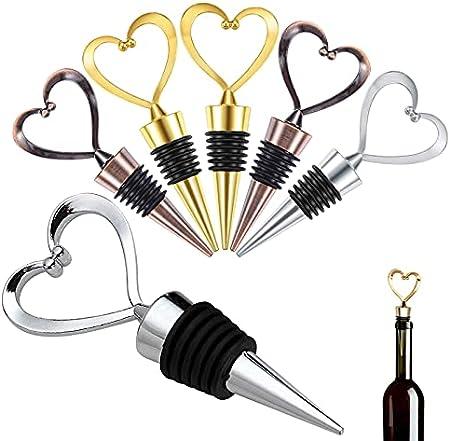 GZjiyu - 6 tapones para botellas de vino, aleación de zinc, forma de corazón, para la colección de vino, champán, cerveza, regalo, color plateado, dorado y bronce