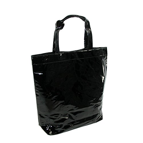 CTM Women's Patent Tote Bag, Black by CTM (Image #2)