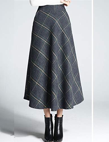Amazon.com: Flygo - Falda de cuadros de lana para mujer ...