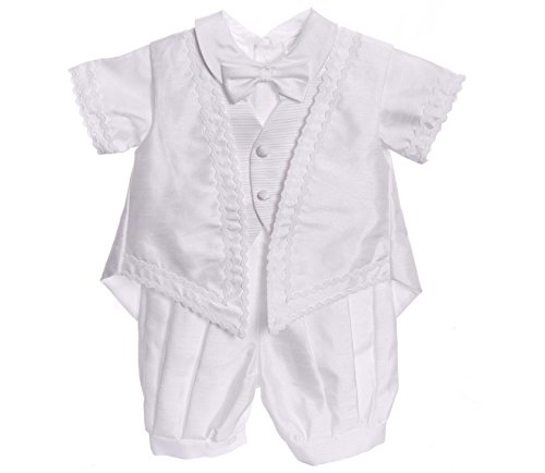 Infant Baby Boy White Classic Christening Baptism Outfit- 5pc set (Medium ( 9-12M))