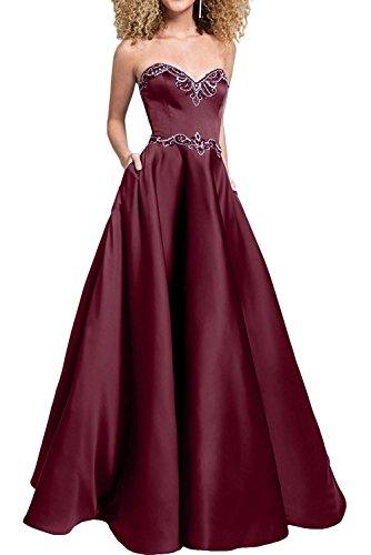 Jaeger La Bodenlang Promkleider Festlichkleider Braut Brautmutterkleider Marie Gruen Burgundy Satin Perlen mit Abendkleider w4x4farqE