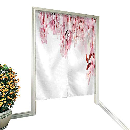 (TextileLIHome Linen Cotton Door Curtaindreamy Blossoms as a Natural Border Studio Isolated on Pure Noren Doorway Curtain Tapestry 33.5