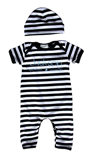 Personalized Rompers with Matching Hat for Boys (12M (6-12 Months), Black & White ()