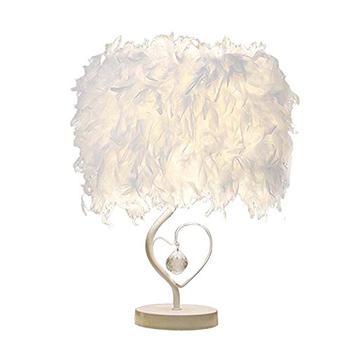 GUORZOM LED Table Lamp Living Room Bedroom Bedside Reading Room Children Room Heart Feather Crystal Table Lamp Gift Decoration, Small - Signature Crystal Pendant Light