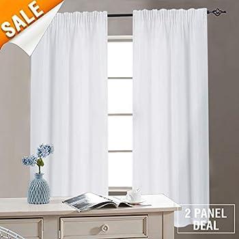 Amazon Com White Bathroom Window Curtains Waffle Weave