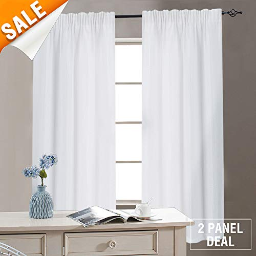 White Bathroom Window Curtains Waffle Weave Textured Cafe Curtains Small Window Treatment Sets for Kitchen, 72 Inches Long, 2 Panels