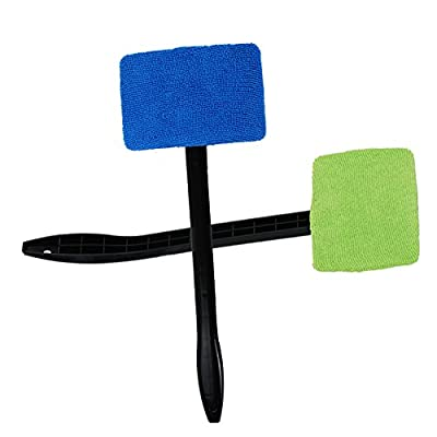 SaferCCTV Car Windshield Cleaner Auto Glass Wiper Washable Microfiber Car Window Brush Blue and Green (2 Pack): Home Improvement