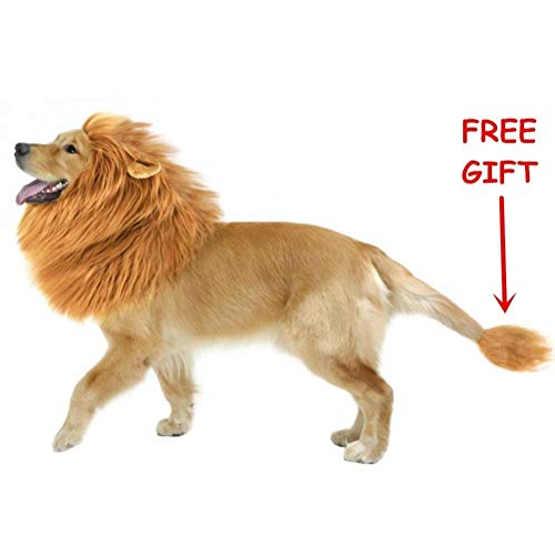 WAPIKE Lion Dog Mane, Turn Your Dog Into A Strong Lion, Big Pet Dog Lion Mane Wig, Tail, Festive Party Gorgeous Costume (Light Brown2)