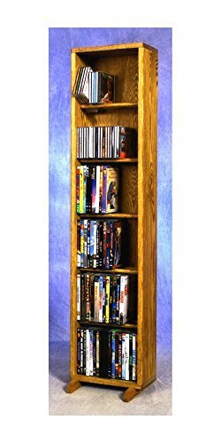 12.25 in. 6 Row Dowel DVD Tower (Honey Oak)