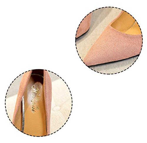 Rose Couleur à pointues Chaussures épaisses taille hauts LBDX Chaussures talons Caramel 37 wg64ZAq