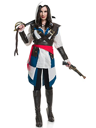 Pirate Theme Party Costume Ideas (Charades Women's Cutthroat Pirate Girl Costume, As Shown, Small)