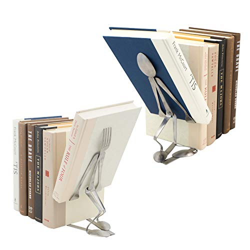Forked Up Art Decorative Bookends, Set of 2, Fork and Spoon (The Bookthief)