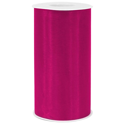 "[ 6"" x 50yd ] Hot Pink Organza Roll for craft and party decoration ( Hot Pink , Organza roll)"