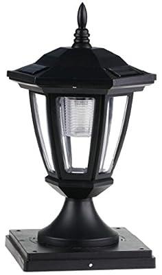 2-Pk Solar Hexagon Light w/ Fence Post Cap 3 3/4inch x 3 3/4inch. Finish: Black. LED: Soft White