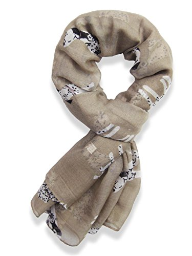 V28® Women's Various Puppy Dogs Printed Designer Fashion Scarf Scarves (Sausage Dog - White) (Mocha)