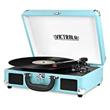 Innovative Technology ITVS-550BT-TRQ Victrola Vintage 3 Speed Bluetooth Suitcase Turntable with Speakers, Turquoise