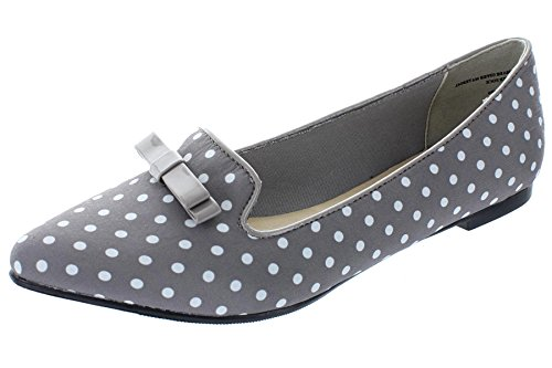 Polka Dot Fabric Flats - Restricted Women's Slip On Pointed Toe Polka Dot Bow Loafer Flat (6.5 B(M) US, Grey)