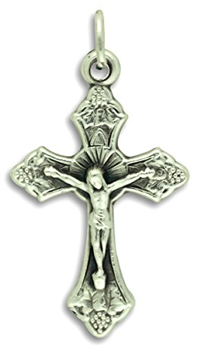 Crucifix Post (LOT of 10 - Flared Posts Sunburst Crucifix - 1-1/4 Inch Metal Rosary Crucifix Cross Pendant Medal)