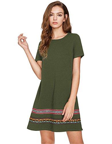 Romwe Womens Loose Short Sleeve Shirt Casual Tunic Dress Swing T Shirt Dress Green Xl