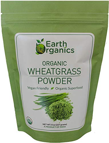 Organic Wheatgrass Powder 8 Ounces - by Earth Organics - USDA Certified Organic - Nutritionally Rich Raw Superfood from India (Best Wheatgrass Powder Brands In India)