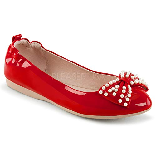 Pin Up Couture Women's Ivy-09 Ballet Flat, b. Pink Patent, 9 M US