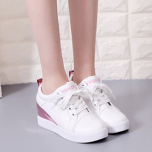 GIY Womens Fashion High Top Sneakers Lace Up Platform Wedges Hidden Heel Round Toe Casual Loafers Shoes White-pink b0O3ajVE5G