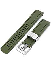 20mm Crafter Blue Rubber Watch Band Compatible with Seiko Sumo SBDC001, Military Green