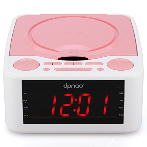 DPNAO CD Player, Compact Boombox with Alarm Clock FM Radio USB Aux Headphone Jack for girls kids bedrooms (Pink)