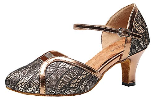 Abby Womens Latin Ballroom Shoes Lace Up Flat Peep Toe Wedding Prom Party Bride 9005 Brown US 11