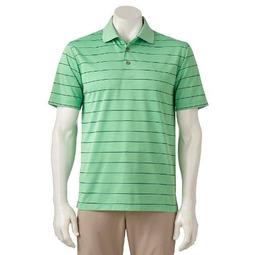 Grand Slam Striped Country Club Performance Polo - Men,Green, M (Grand Slam Polo Shirt)