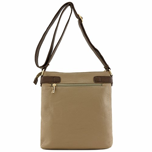 Medium Buckles Accent with Crossbody Front Pocket Bag Taupe 5x7XAx8qw