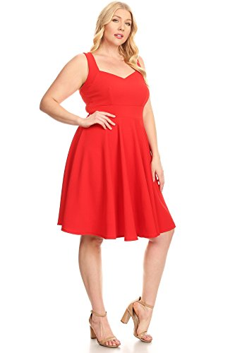 01 Size Made Dresses Womens Sleeve Style Plus USA Flare Summer Fit Red in Short 5x0Og8wx