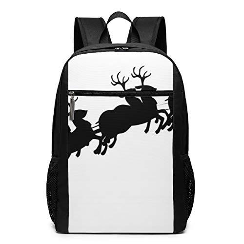 PhyShen Santa Sleigh Silhouette Image Unisex Unique Shoulder Bags,Adult Student Double Zipper Closure Casual School Bag -