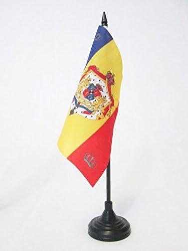 BANDERINA de DESPACHO Reino RUMANO 15 x 15 cm AZ FLAG Bandera de Mesa del ESTANDARTE Real DE Rumania 1881-1946 15x15cm