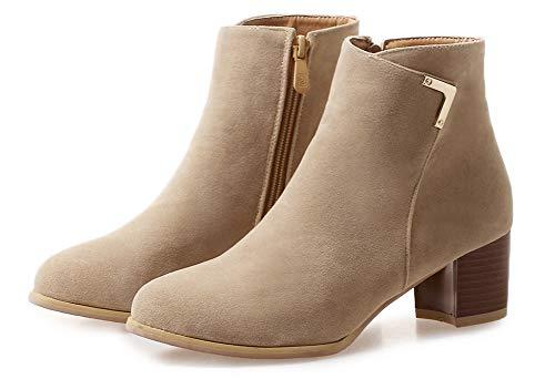 Femme Rond Bout Low Bottines Basse Abricot Aisun Boots Classique p77wS