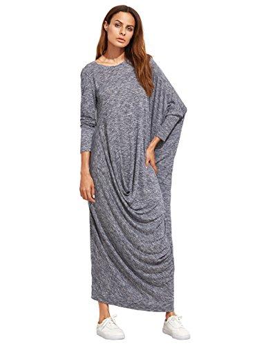 Verdusa Womens Long Sleeve Knit Draped Asymmetric Oversized Casual Shift Long Maxi Dress
