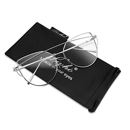 Livhò Sunglasses for Women, Cat Eye Mirrored Clear Lenses Metal Frame Sunglasses - Lenses Sunglasses Clear With