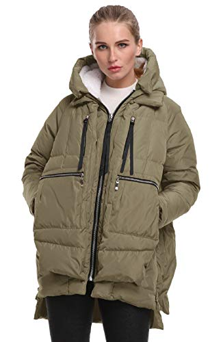 FADSHOW Women's Winter Down Jackets Long Down Coats Warm Parka with Hood,Army ()