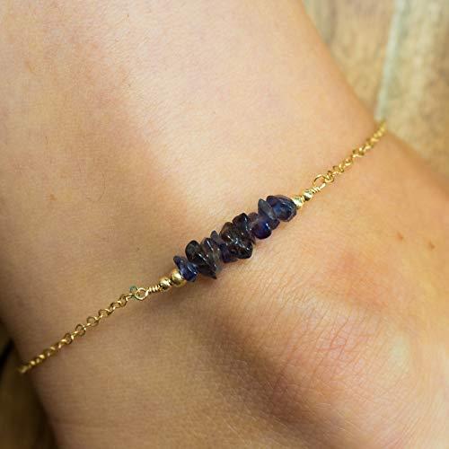 Iolite bead bar crystal gemstone anklet in 14k gold fill - 8