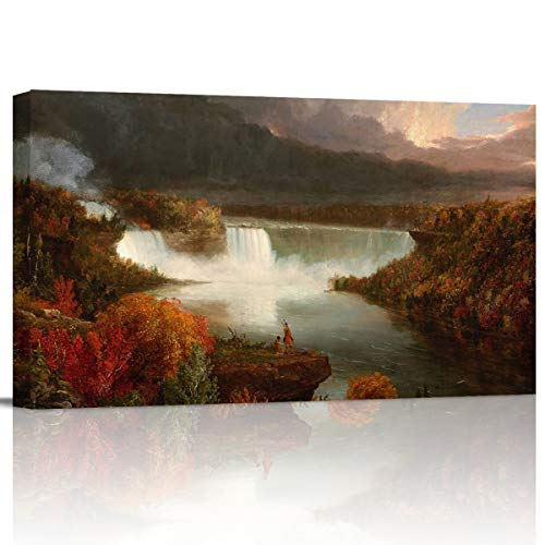Arts Language Canvas Print Wall Art Thomas Cole - Distant View of Niagara Falls Picture Painting Modern Giclee Framed Artwork for Office/Livingroom/Bedroom/Office Decor ()
