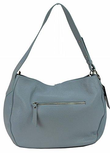 Bozana Bag Ida Hellblau Blau Italy Designer Damen Handtasche Schultertasche Ledertasche Tasche Wildleder Prägung Shopper Neu