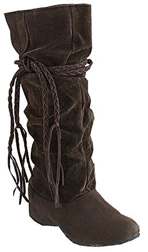 Damen Stiefel Neue Herbst-Winter-Aufladungen Schnee-Aufladungen Schuh-Frauen-Big Size 34.5- 41.5 Schlamm farbe