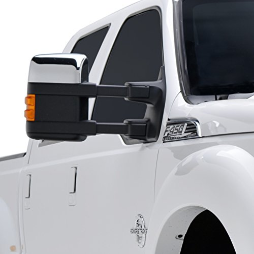 E-Autogrilles Chrome ABS Upper Half Mirror Cover for 08-16 Ford F250/F350 Super Duty (65-0316) (Chrome F350 Cover)