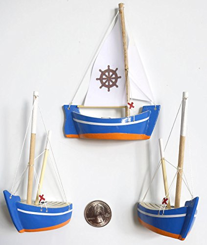 Hand Painted Wood Refrigerator Fridge (Mediterranean Marine Style Wood Sailing Boat -3 piece set- MAGNET Ornament Hand Crafted Replica Collectible (BLUE SET / WHEEL))