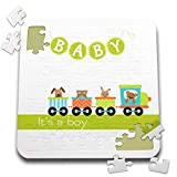 3dRose Uta Naumann Sayings and Typography - Cute Baby Illustration - Animals in Train Green - Its a Boy - 10x10 Inch Puzzle (pzl_289807_2)