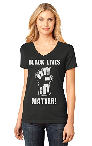 Black Lives Matter! Civil Rights Women's Fitted V-Neck T-Shirt Medium Black