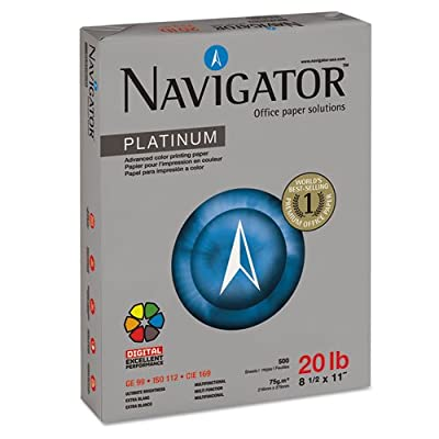 Navigator Products - Navigator - Platinum Paper, 99 Brightness, 20lb, 8-1/2 x 11, White, 5000/Carton - Sold As 1 Carton - Silky touch paper offers true, vivid colors, optimal print contrast and sharp images. - Tested to perform for the most demanding equi