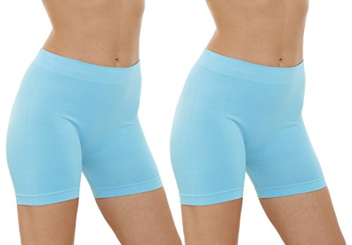 2 Pack Women's Seamless Stretch Yoga Exercise Shorts Light Blue ,One Size