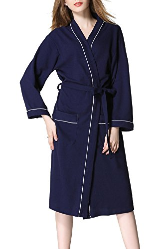 Waffle Weave Spa Bathrobe - Cardigan Collection - Luxurious, Super Soft Long-Staple Combed Cotton Bath Robe for Women and Men, Best Wedding Gift (Medium, Navy Blue)